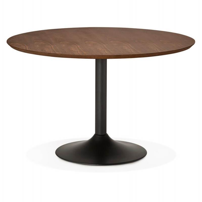 Table de repas ronde vintage scandinave GALON en bois et métal peint (Ø 120 cm) (noyer, noir) - image 27994