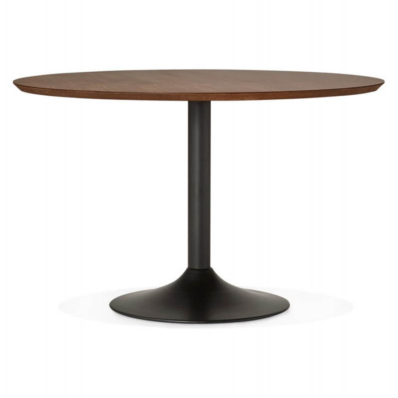 Dining Table Round Scandinavian Vintage STRIPE In Wood And Painted Metal (Ø  120 Cm) (black Walnut)