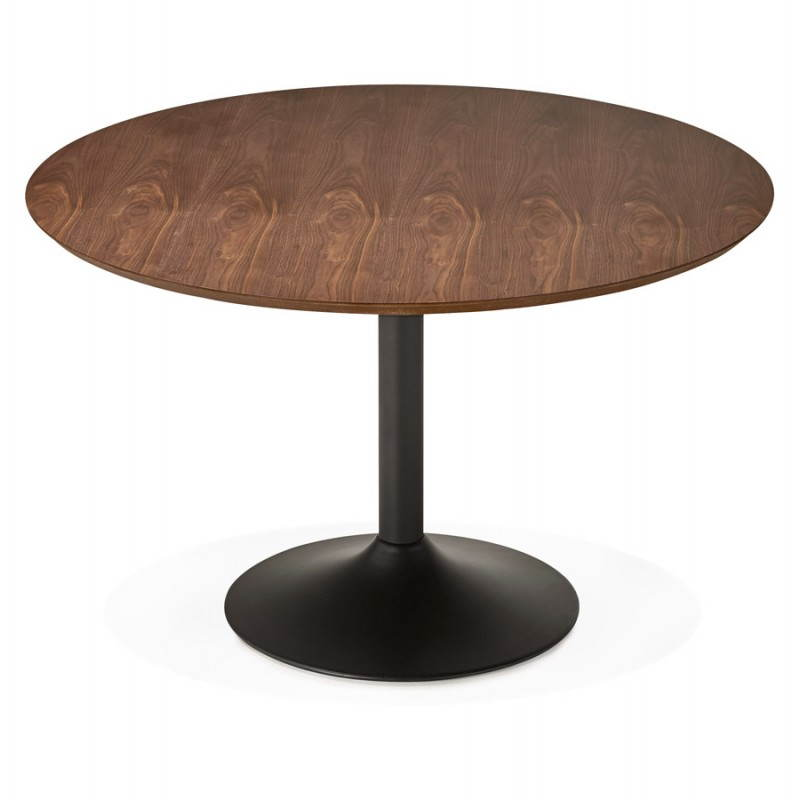 Table de repas ronde vintage scandinave GALON en bois et métal peint (Ø 120 cm) (noyer, noir) - image 27996