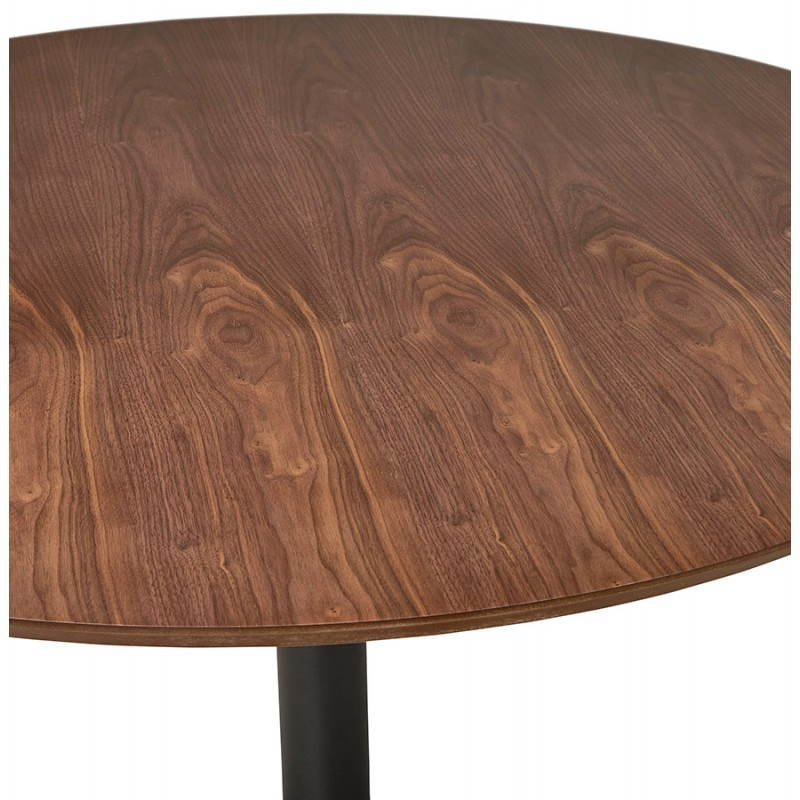 Table de repas ronde vintage scandinave GALON en bois et métal peint (Ø 120 cm) (noyer, noir) - image 27998