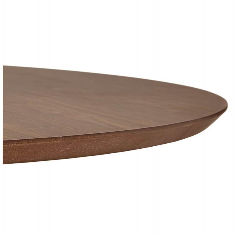 Table de repas ronde vintage scandinave GALON en bois et métal peint (Ø 120 cm) (noyer, noir) - image 27999