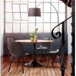 Dining table round Scandinavian vintage STRIPE in wood and painted metal (Ø 120 cm) (black walnut)