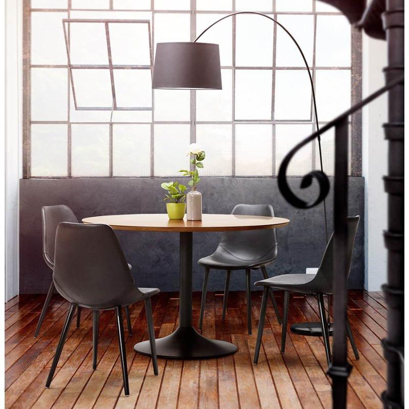 Table de repas ronde vintage scandinave GALON en bois et métal peint (Ø 120 cm) (noyer, noir) - image 28004