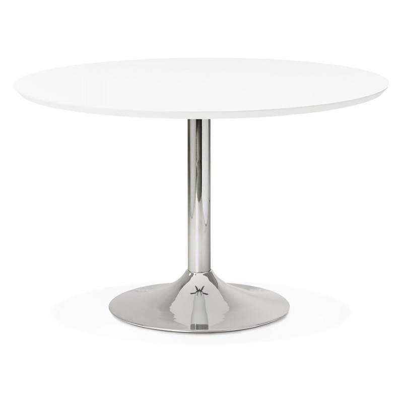 Table de repas design ronde GALON en bois et métal chromé (Ø 120 cm) (blanc, métal chromé)