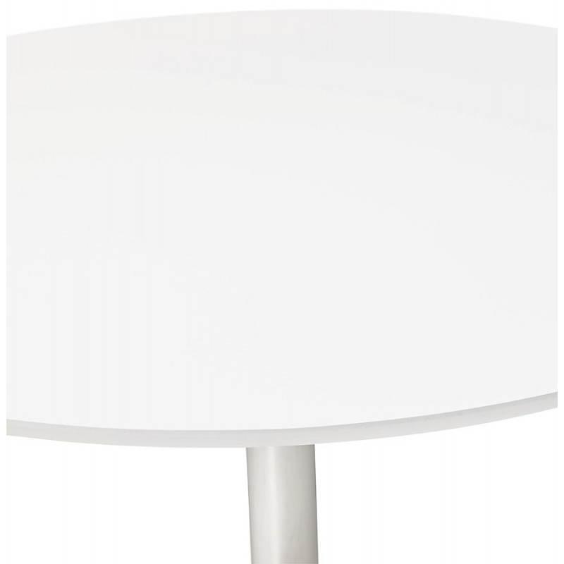 Table de repas design ronde GALON en bois et métal chromé (Ø 120 cm) (blanc, métal chromé) - image 28019