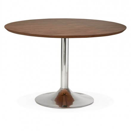 Table de repas design ronde GALON en bois et métal chromé (Ø 120 cm) (noyer, métal chromé)