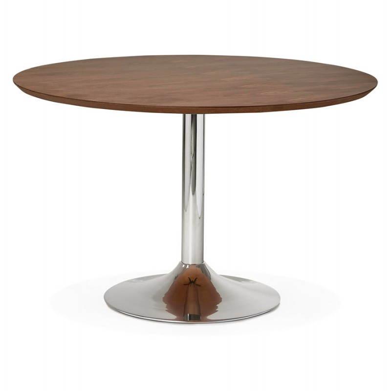Table de repas design ronde GALON en bois et métal chromé (Ø 120 cm) (noyer, métal chromé) - image 28025