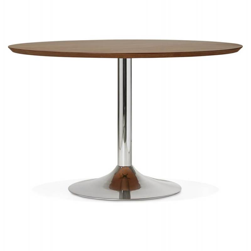 Table de repas design ronde galon en bois et m tal chrom 120 cm noyer - Table ronde bois et metal ...