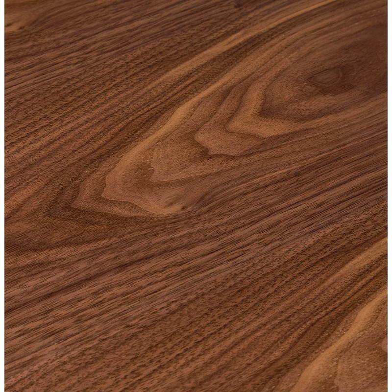 Table de repas design ronde GALON en bois et métal chromé (Ø 120 cm) (noyer, métal chromé) - image 28028