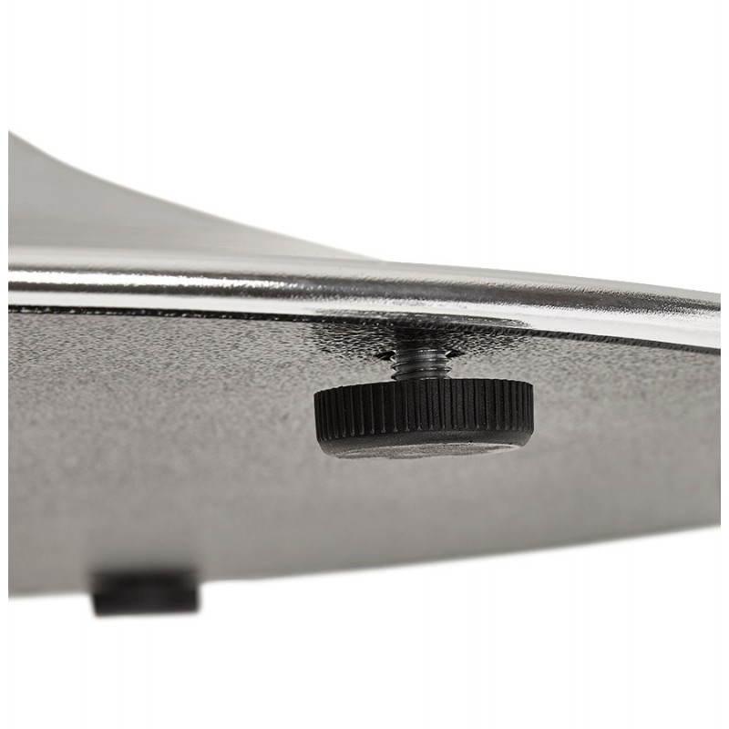 Table de repas design ronde GALON en bois et métal chromé (Ø 120 cm) (noyer, métal chromé) - image 28033