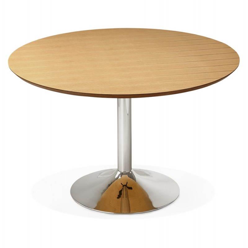 Table de repas design ronde galon en bois et m tal chrom - Table ronde bois design ...