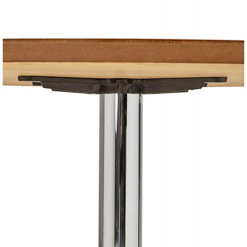 table de repas design ronde galon en bois et m tal chrom. Black Bedroom Furniture Sets. Home Design Ideas
