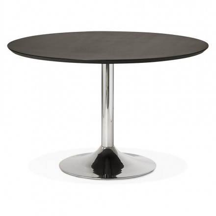 Table de repas design ronde GALON en bois et métal chromé (Ø 120 cm) (noir, métal chromé)
