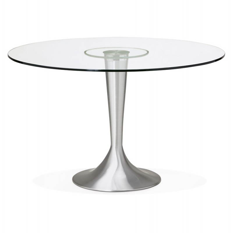 Table de repas design ronde urban en verre tremp et aluminium bross 120 cm transparent - Table ronde en verre design ...