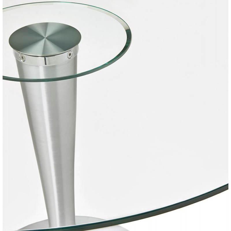 Disegno rotondo da pranzo URBAN in vetro temperato e alluminio ...