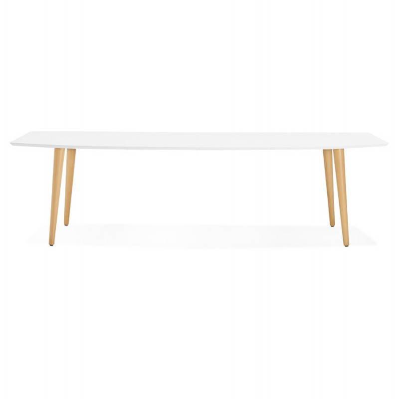 Table à manger style scandinave avec rallonges TRINE en bois (170/270cmX100cmX74,8cm) (blanc) - image 28177