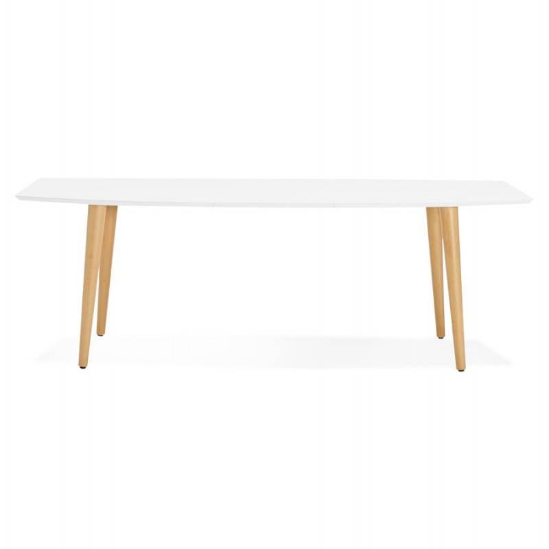 Table à manger style scandinave avec rallonges TRINE en bois (170/270cmX100cmX74,8cm) (blanc) - image 28181