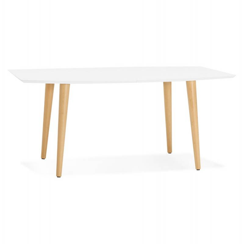Table à manger style scandinave avec rallonges TRINE en bois (170/270cmX100cmX74,8cm) (blanc) - image 28184