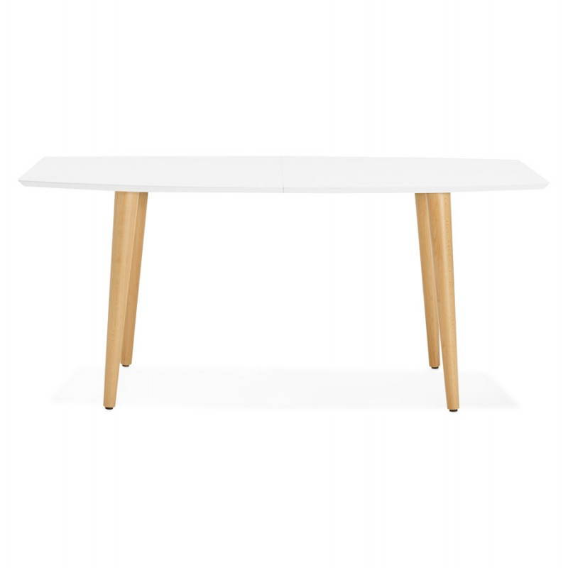 table manger style scandinave avec rallonges trine en bois 170 270cmx100cmx74 8cm blanc. Black Bedroom Furniture Sets. Home Design Ideas