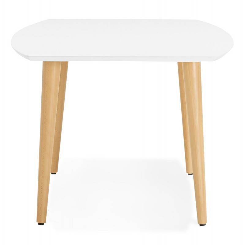 Table manger style scandinave avec rallonges trine en for Table scandinave blanc et bois