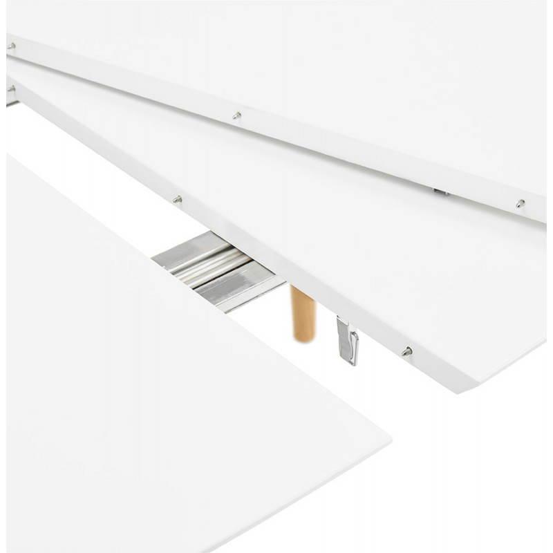 Table à manger style scandinave avec rallonges TRINE en bois (170/270cmX100cmX74,8cm) (blanc) - image 28191