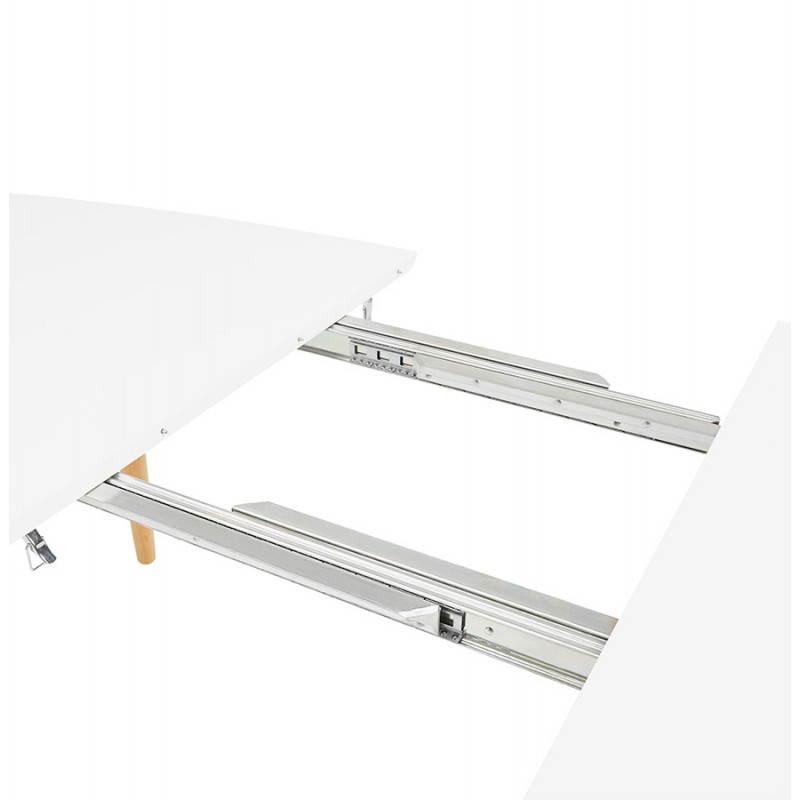 Table à manger style scandinave avec rallonges TRINE en bois (170/270cmX100cmX74,8cm) (blanc) - image 28193