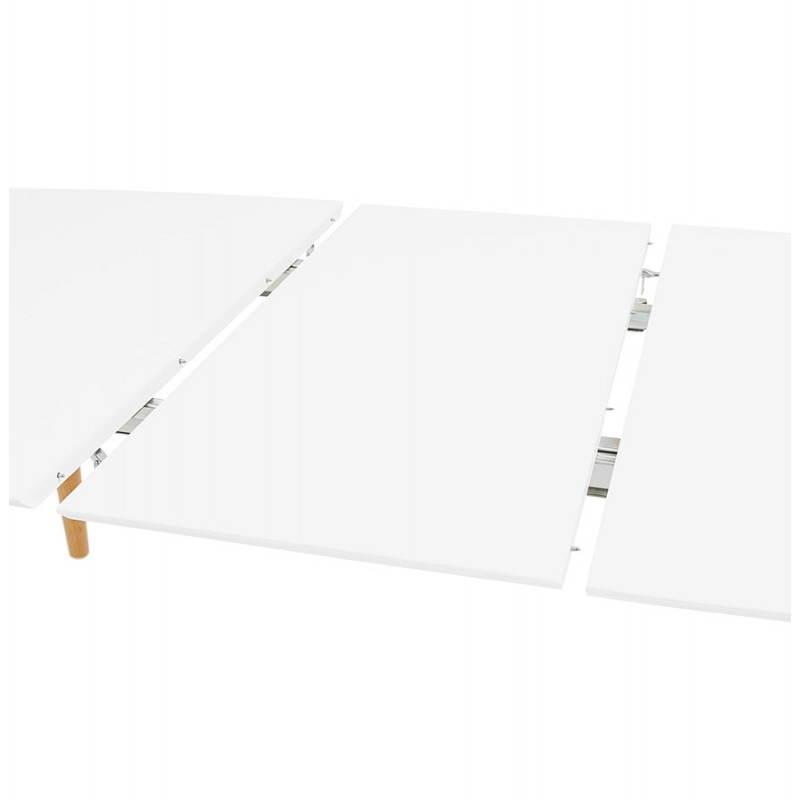 Table à manger style scandinave avec rallonges TRINE en bois (170/270cmX100cmX74,8cm) (blanc) - image 28194