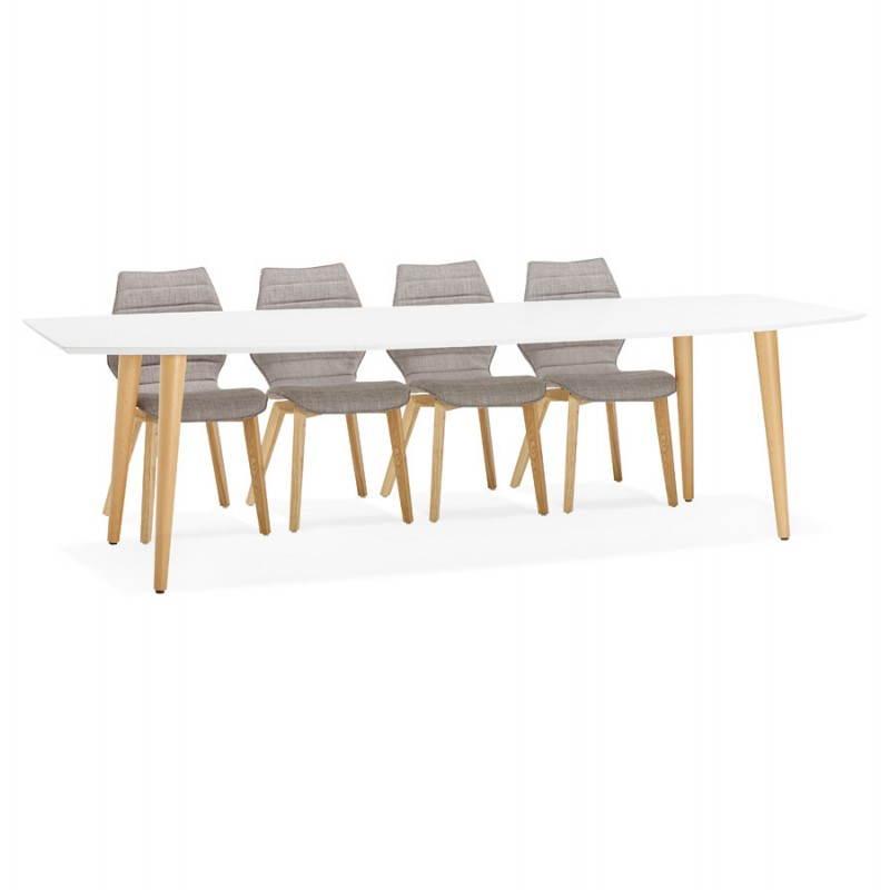 Table à manger style scandinave avec rallonges TRINE en bois (170/270cmX100cmX74,8cm) (blanc) - image 28201