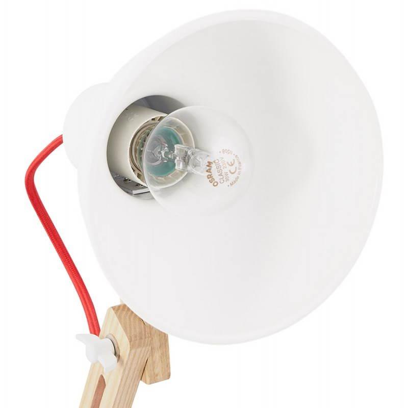 Lampada da terra design LOFT in metallo e legno (naturale, bianco) - image 28212