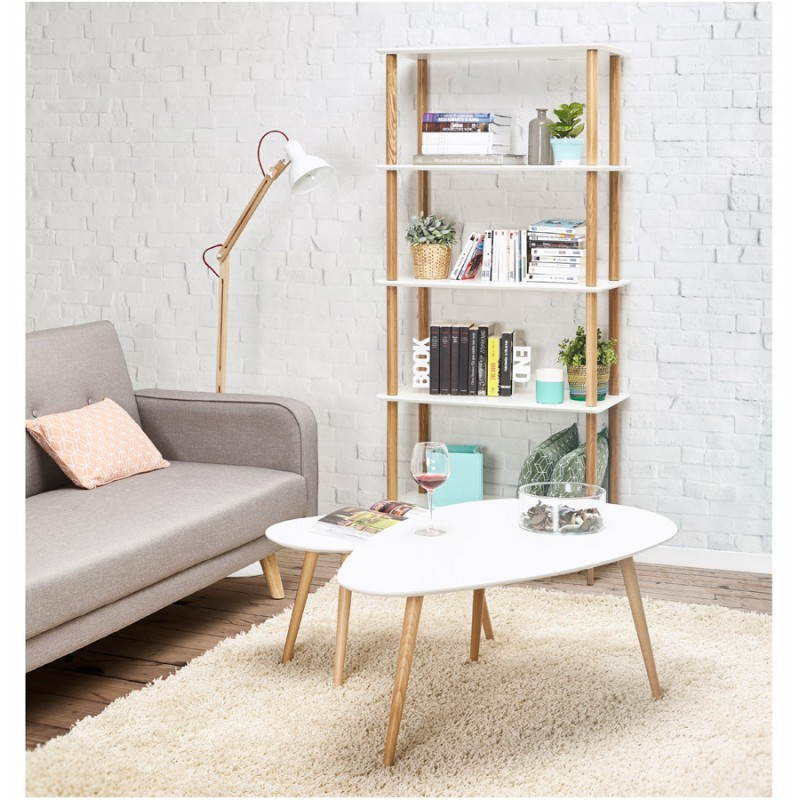 lampe sur pied design loft en m tal et bois blanc naturel. Black Bedroom Furniture Sets. Home Design Ideas