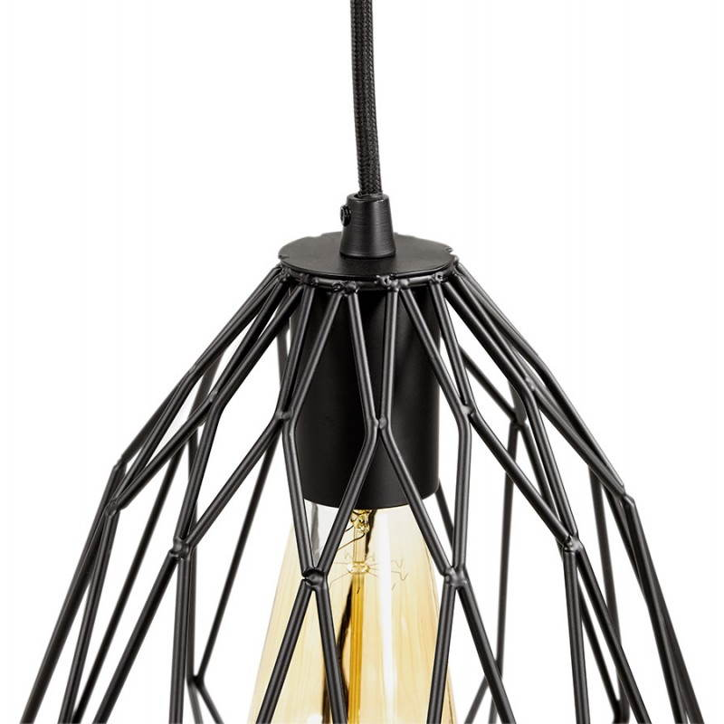 Lampe suspension vintage moss en m tal noir - Lampe suspension vintage ...