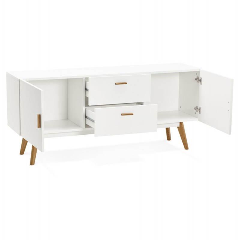 Progettazione di porte in legno di riga stile buffet scandinavo 2 KARL (bianco opaco) - image 28283