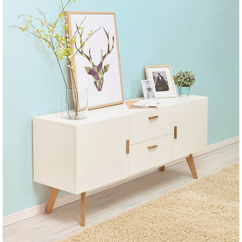 buffet enfilade design style scandinave 2 portes karl en bois blanc mat. Black Bedroom Furniture Sets. Home Design Ideas