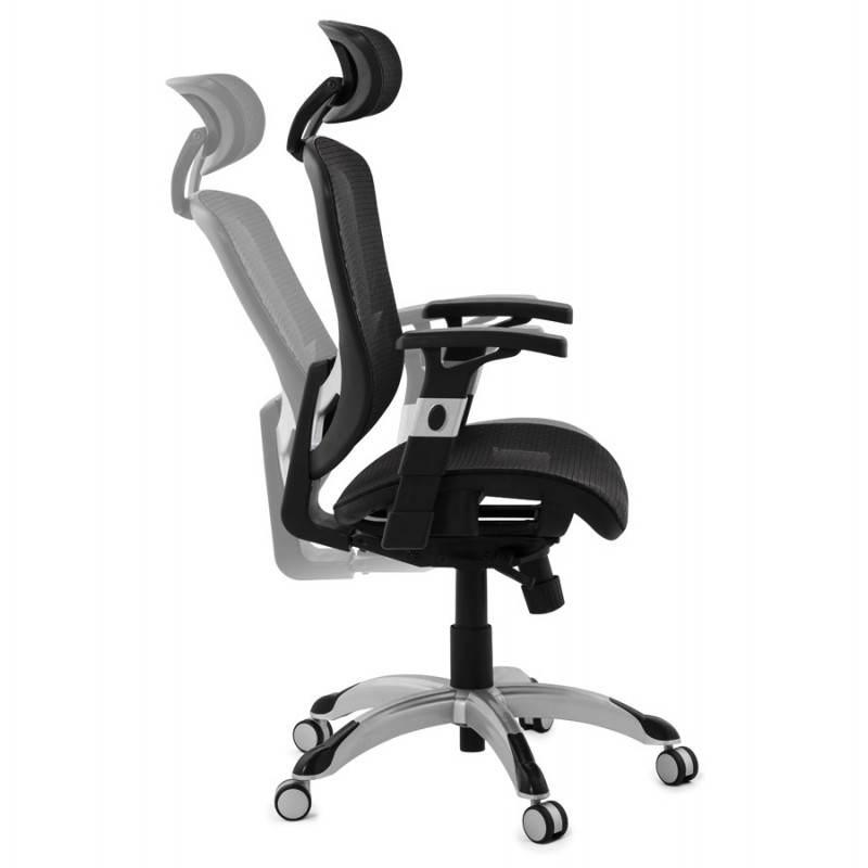 Fauteuil de bureau design et moderne ergonomique AXEL en tissu (noir) - image 28327