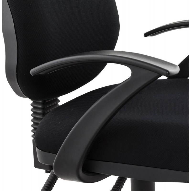 Chaise de bureau ergonomique à roulettes BELOU en tissu (noir) - image 28336
