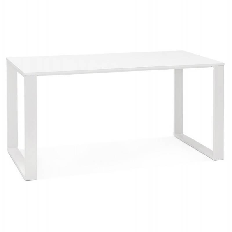 Bureau droit design antoul en bois et m tal blanc brillant - Bureau bois et blanc ...