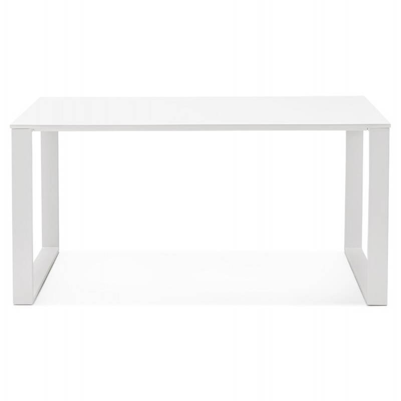 Bureau droit design ANTOUL en bois et métal (blanc brillant) - image 28347