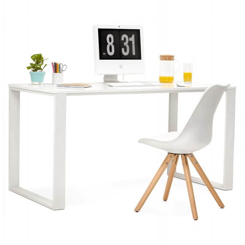 Bureau droit design ANTOUL en bois et métal (blanc brillant) - image 28357