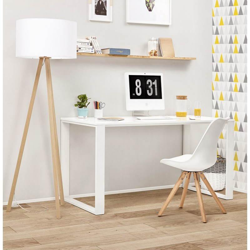 Bureau droit design ANTOUL en bois et métal (blanc brillant) - image 28358