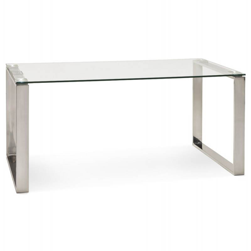 Bureau droit table design et contemporain ingrid en verre et acier chrom transparent for Bureau en verre design
