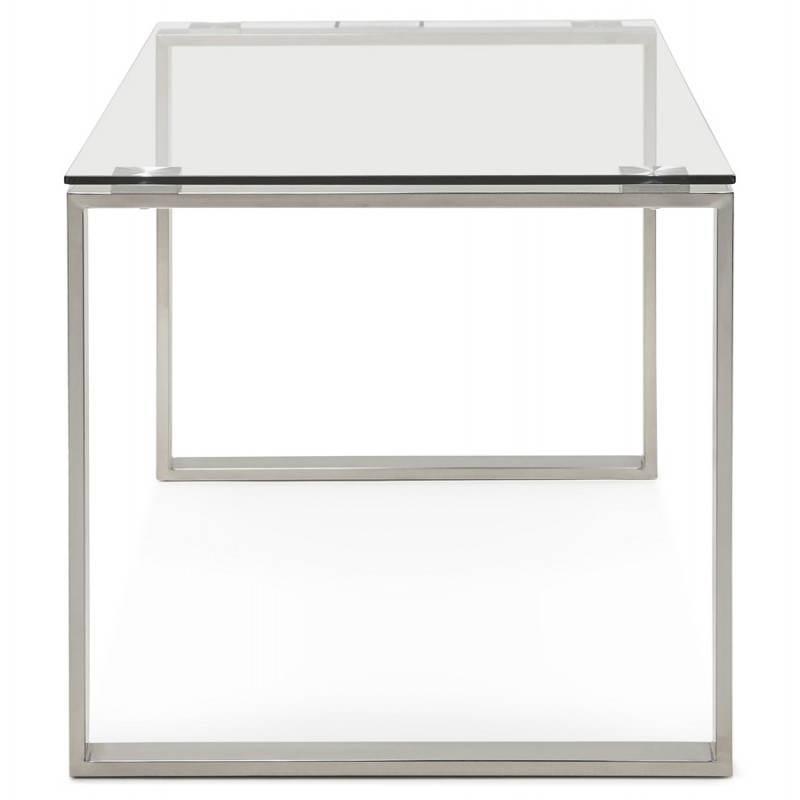 Bureau droit table design et contemporain INGRID en verre et acier chromé (transparent) - image 28361