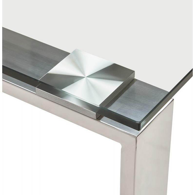 Bureau droit table design et contemporain INGRID en verre et acier chromé (transparent) - image 28362