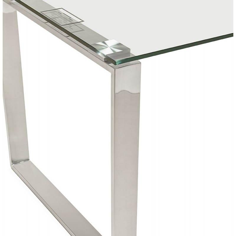Bureau droit table design et contemporain INGRID en verre et acier chromé (transparent) - image 28364