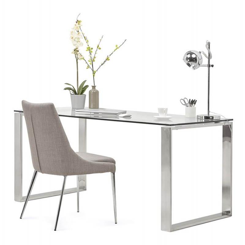 Bureau droit table design et contemporain INGRID en verre et acier chromé (transparent) - image 28369