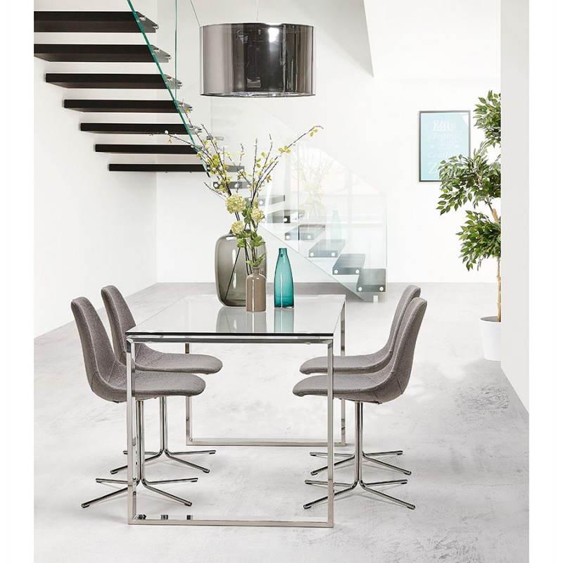 Bureau droit table design et contemporain ingrid en verre et acier chrom transparent for Bureau blanc design contemporain