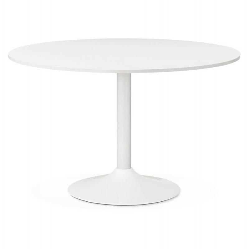 Table de bureau ou repas design ronde ASTA en bois et métal peint (Ø 120 cm) (blanc) - image 28371