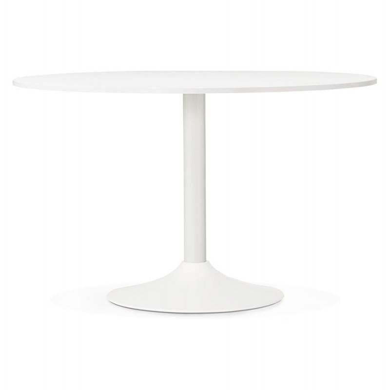 Table de bureau ou repas design ronde ASTA en bois et métal peint (Ø 120 cm) (blanc) - image 28372