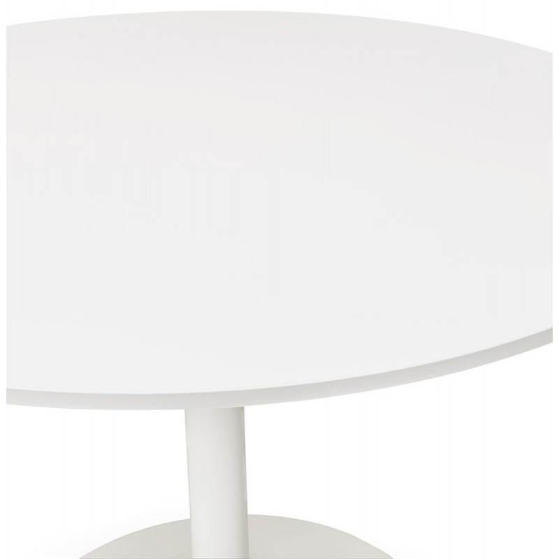Table de repas ou bureau ronde design scandinave NILS en bois et métal peint (Ø 90 cm) (blanc) - image 28385