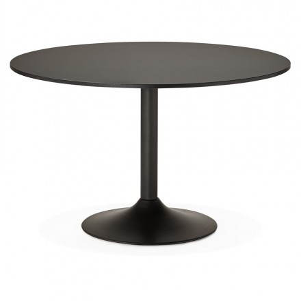 Office table or round design meal ASTA in wood and metal painted (Ø 120 cm) (black)