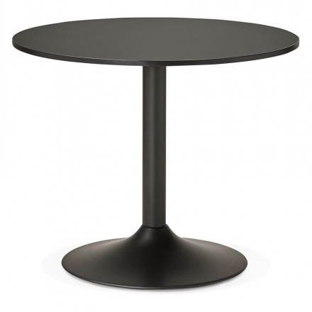 Dining table or desk round design NILS wood and metal painted (O 90 cm) (black)